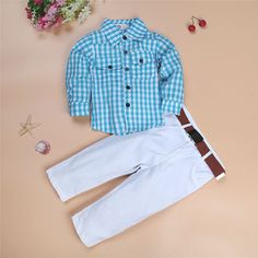 New Fashion Boys Clothes Set Kids Loose-fitting Cotton Plaid Shirt+ Pants+ Belt 3 pcs Minion Kids Clothing Set