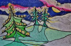"""December 2015 """"Comfort & Clarity of Soft Snow on a Moonlit Night"""", Oil Pastel by Dottie D'Acquisto Graham"""
