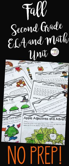 Fall No Prep Unit for Second Grade is full of no prep printables for the season! Apples, pumpkins, Halloween, Labor Day and Thanksgiving, it's all here! This unit is geared towards 2nd graders, but can also be used for talented first graders or third graders who may be struggling a bit. This product is meant to be a time saver. Just print! Cover two digit addition, parts of speech, time, contractions, complete sentences, and so much more!