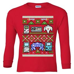 Long Sleeve Youth: Retro Video Games Ugly Christmas Sweater Shirt Red Large (14-16) TeeShirtPalace http://www.amazon.com/dp/B016PFN09Q/ref=cm_sw_r_pi_dp_jt7mwb0H9180T