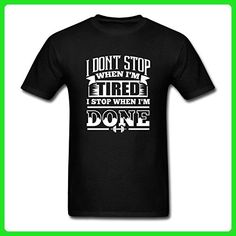 HUENS I Don't Stop When I'm Tired I Stop When I'm Done Gym Motivation Mens Cotton Graphic T-Shirt Black Size L - Workout shirts (*Amazon Partner-Link)