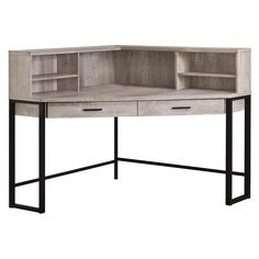 When you need a compact yet spacious work area then this unique, contemporary style corner desk will fit the bill. With expanded storage options, the spacious thick panel desk top is fitted with an open, angled hutch that includes adjustable shelving Metal Computer Desk, Computer Desk With Shelves, Desk Shelves, Computer Desks, Shelf, Home Office Desks, Home Office Furniture, Furniture Deals, Open Shelving