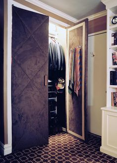 Closet doors don't have to be plain and boring. You can easily dress up closet doors with fabric, wallpaper or even cut out sections and add moulding and trim Bedroom Closet Doors, Wardrobe Doors, Bedroom Storage, Bedroom Decor, Master Closet, Bedroom Ideas, Master Bedroom, Bedroom Curtains, Dress Up Closet