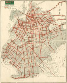 Brooklyn 1930s Trolley Map // thanks for destroying something awesome, General Motors.