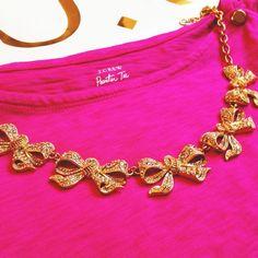 Golden bow necklace, J. Crew.