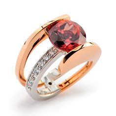 5.87ct Brownish Pink Zircon set in 18k Rose Gold and Platinum accented with Diamond