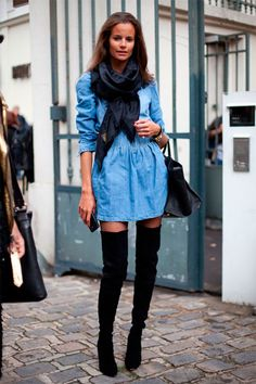 black thigh high boots on black pantyhose combined with blue short dress |#thighhighboots