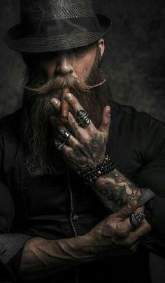 "jsc-best-models: "" Kmiec "" – coiffures et barbe hommes Bart Tattoo, Hair And Beard Styles, Hair Styles, Beard Art, Smoke Art, Poses For Men, Mustache, Cigars, Man Stuff"