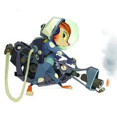 Illustrator: Mike Yamada #characterdesign #animal #spacesuit #flamethrower
