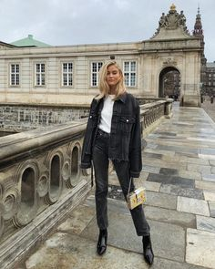 Black Double denim outfit look, frayed hen denim jacket, autumnal outfit look Mode Outfits, Casual Outfits, Fashion Outfits, Fashion Clothes, Dress Outfits, Fashion Shoes, Fashion Ideas, Blazers For Women, Jackets For Women