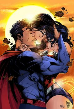 The super kiss Superman and Wonder Woman
