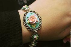 """Купить Браслет """"Туманное утро"""" - бирюзовый, браслет, винтаж, полимерная глина, розы, цветы"""