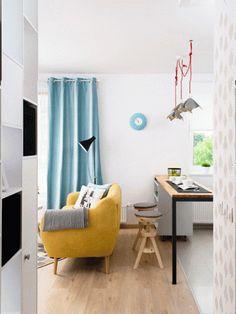 38 sqm studio in Bucharest Small Apartment Decorating, Elle Decor, Small Apartments, Design Awards, House Design, Curtains, Dining, Interior Design, Studio