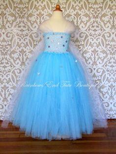Frozen  Queen Elsa Tutu Dress sizes 1218m by whererainbowsend1, $45.00