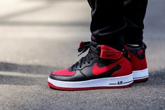 new product e0ac1 f6249 Nike Air Force 1 Mid (Black Gym Red) - Sneaker Freaker