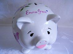 Piggy bank personalized piggy bank roses butterflies