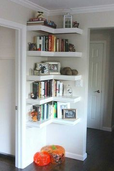 Leave the top shelf open, all across top of door, for my cat. Nail up strips of wood on opposite side of door for cat to climb up.