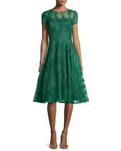 Feather-Lace Open-Back Party Dress, Size: 10, Green - Aidan Mattox