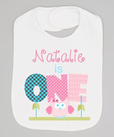 Another great find on #zulily! White & Pink Owl First Birthday Personalized Bib by Initial Request #zulilyfinds