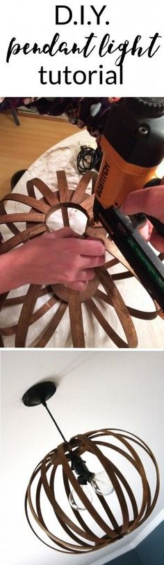 West Elm Knock Off ~ DIY Bentwood Pendant Tutorial MUST PIN! Totally genius tutorial for making a West Elm Bentwood Pendant light Knock Off. Full tutorial by Designer Trapped in a Lawyer's Body. Do It Yourself Furniture, Diy Furniture, West Elm, Diy Luz, Luminaria Diy, Diy Luminaire, Diy Pendant Light, Pendant Lights, Pendant Lamps