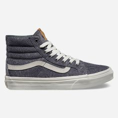 Vans Motif Floral SK8-Hi Slim Womens Shoes ($65) ❤ liked on Polyvore featuring shoes, sneakers, grey, floral shoes, vans sneakers, vans high tops, grey sneakers and floral canvas sneakers