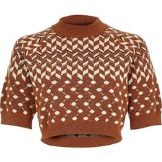 River Island Rust brown knitted metallic cropped top ($60) ❤ liked on Polyvore featuring tops, shirts, brown, knitted tops, knitwear, women, knit tops, crop shirts, tall shirts and brown shirt