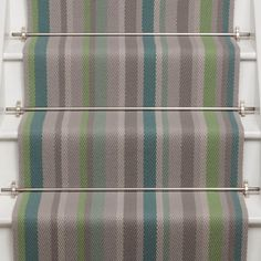 Roger Oates Kyoto Jade stair runner carpet with Chrome stair rods fitted to white painted staircase Blue Carpet Bedroom, Hallway Carpet, Stair Carpet, Painted Staircases, Carpet Shops, Porch Flooring, Carpet Styles, Diy Carpet, Carpet Runner