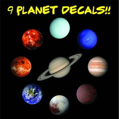 9 PACK of Space decals Solar System sticker by DestinationDecal