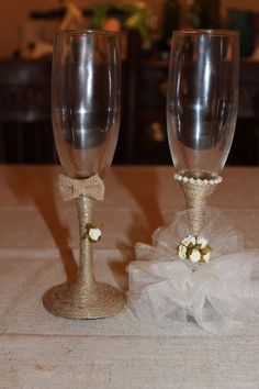 Rustic Bride and groom wedding champange toasting flutes handcrafted glasses #Unbranded
