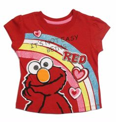 Sesame Street Elmo Baby Toddler Girls t Tee Shirt Red Rainbow 18m 24m 2t nwt  #SesameStreet #EverydayBirthday