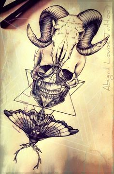 Ram skull, dotwork human skull and death moth tattoo design
