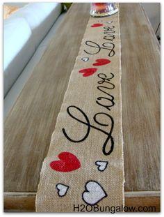 "Valentines Day Decor - burlap ""love"" table runner."