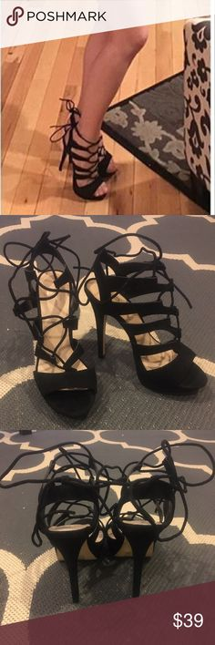 Mix No. 6 black platform lace up heels. Mix No. 6 black platform lace up heels. Suede like fabric. Soft and smooth. Size 8.5 but the print wore off. See photos for measurements. Wore once. Super cute but I'm cleaning out my closet. ***Dress also available in a separate listing. mix no.6 Shoes Heels