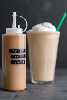 Pumpkin Spice Frappuccino, Starbucks Pumpkin Spice, Frappuccino Recipe, Starbucks Frappuccino, Pumpkin Spice Sauce Recipe, Pumpkin Sauce, Starbucks Recipes, Sauce Recipes, Drink Recipes