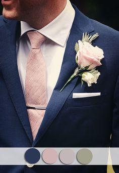 navy blue and blush pink fall wedding color ideas