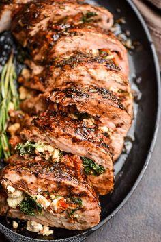 Pork Tenderloin Recipes, Roast Recipes, Cooking Recipes, Stuffed Pork Recipes, Pork Filet Recipes, Healthy Pork Recipes, Macedonian Food, Pork Dishes, Mediterranean Recipes