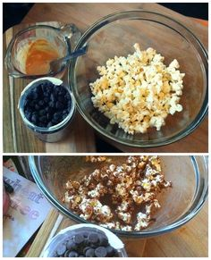 air popped popcorn and melted a tablespoon of dark chocolate chips and pb2 on top