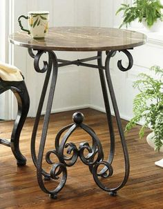 Rustic Black Accent Table w/ Marble Top