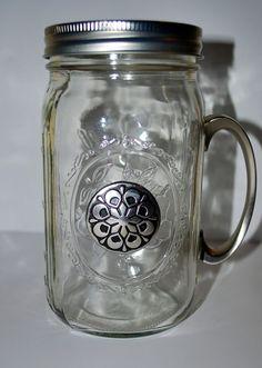Celtic Flower Quart-Sized Mason Jar With Handle