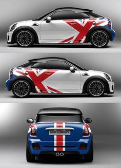 Mini cooper with Union Jack graphic concept. Mini Clubman, Mini Countryman, Mini Cabrio, Union Jack, Cooper Car, Mini Cooper S, Automobile, Roadster, Mini S