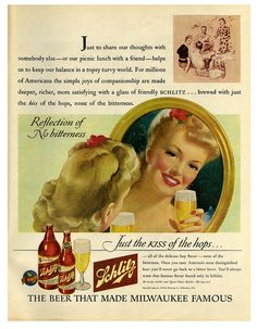Just the kiss of hops... #vintage #1940s #beef #drinks #ads