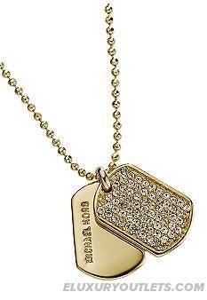 Newfangled Michael Kors Jewelry Goldtone Pave Dogtag Necklace | Michael Kors Jewelry Macy's