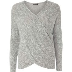 Dorothy Perkins Grey Wrap Jersey Top ($28) ❤ liked on Polyvore featuring tops, grey, wrap style top, gray top, dorothy perkins, jersey top and wrap top