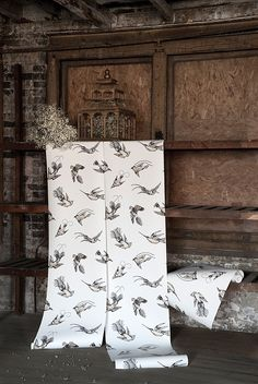 Bath off bonus room  Tropical Birds Wallpaper Vintage 1950's exotic birds design by Una Lindsey. The print has been re-coloured in contemporary colours. Black and sand print on off white background.