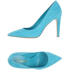 Deimille Pump ($177) ❤ liked on Polyvore featuring shoes, pumps, turquoise, leather pumps, leather footwear, high heel stilettos, leather shoes and leather sole shoes