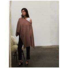 Behind the scenes in the draped Iona Poncho from Brochu Walker