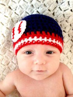 Baseball Team Colors Crochet Beanie Cleveland by LapofLuxury, $24.00