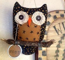 Primitive Owl Hanging Ornie, Tuck, Hanger, Fall Decor  Visit & Like our Facebook page: https://www.facebook.com/pages/Rustic-Farmhouse-Decor