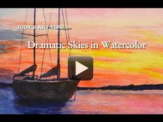 Watercolor painting tips ~ Painting Dramatic Skies by Judy Mudd Watercolor Clouds, Watercolor Video, Watercolour Tutorials, Watercolor Techniques, Watercolor Landscape, Watercolour Painting, Painting Techniques, Watercolor Classes, Watercolours