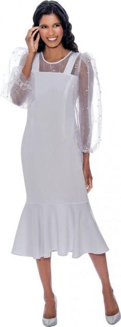 Nubiano DN1961 White Sheer Sleeve Dress